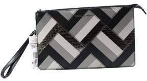 Michael Kors Daniela Patchwork Large Leather Wristlet Clutch (Black Grey) - BLACK - STYLE
