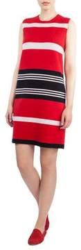 Akris Round-Neck Sleeveless Reversible Striped Cashmere Kit Dress