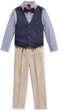 Nautica Little Boys' 3-Pc. Bowtie, Check Shirt, Navy Vest and Khaki Pant Suit Set, Toddler Boys (2T-5T)