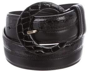 Oscar de la Renta Alligator & Leather Waist Belt