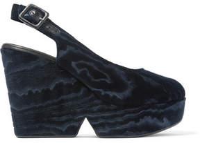 Robert Clergerie Dylantin Devoré-velvet Platform Sandals - Midnight blue