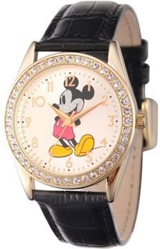 Disney Disney, Glitter Mickey Mouse Men's Gold Alloy Glitz Watch, Black Leather Strap