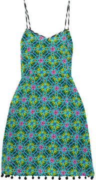 Matthew Williamson Pompom-embellished Printed Silk Crepe De Chine Dress - Jade
