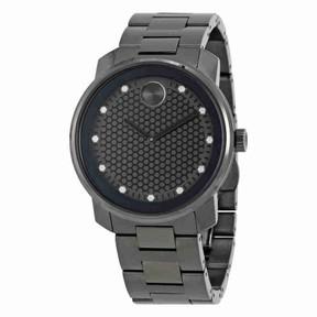 Movado Bold Gunmetal Diamond Dial Quartz Men's Watch 3600375