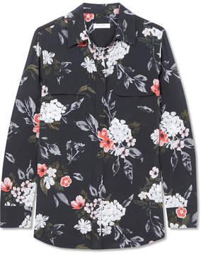 Equipment Slim Signature Floral-print Washed-silk Shirt - Charcoal