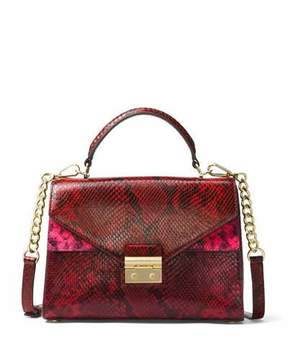MICHAEL Michael Kors Sloan Small Python-Embossed Satchel Bag - RED - STYLE