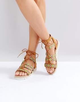 Glamorous Pattern Caged Espadrille Flat Sandals