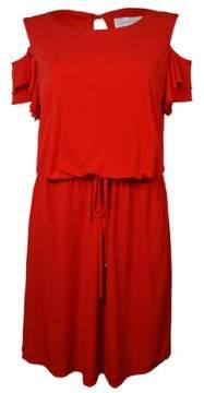 Jessica Simpson Women's Ruffled Cold-Shoulder Belted Jersey Dress XS, Orange