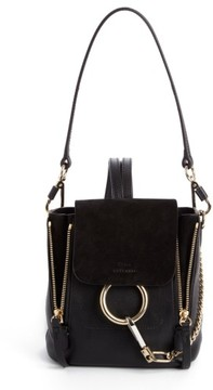 Chloé Mini Faye Leather & Suede Backpack - Black