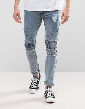 Loyalty And Faith Landon Skinny Fit Biker Jeans in Blue Acid Wash
