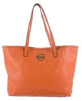 MICHAEL Michael Kors Leather Shopping Tote - ORANGE - STYLE