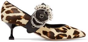 Miu Miu Embellished Leather-trimmed Leopard-print Calf Hair Pumps - Leopard print