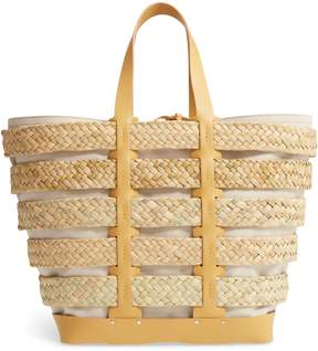 Paco Rabanne Cage Straw & Canvas Tote