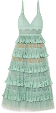 Elie Saab Tiered Plissé-crepe, Tulle And Lace Midi Dress - Turquoise