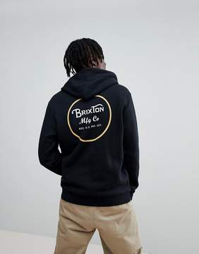 Brixton Wheeler Hoodie With Back Print In Black
