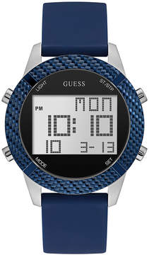 GUESS Men's Digital Blue Silicone Strap Watch 46mm