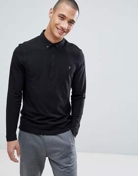 Farah Merriweather Slim Fit Long Sleeve Pique Polo Shirt in Black