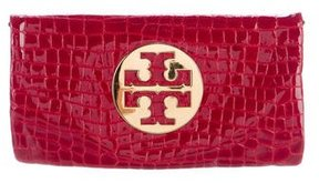 Tory Burch Embossed Leather Reva Clutch - RED - STYLE