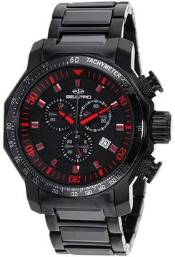Seapro SP6121 Men's Coral Black Stainless Steel & Ceramic Watch with Chronograph