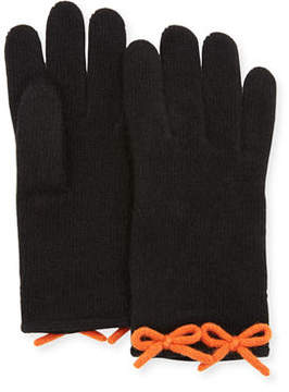 Neiman Marcus Cashmere Knit Bow Gloves