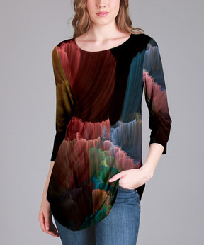 Lily Black & Blush Status Three-Quarter Sleeve Tunic - Women