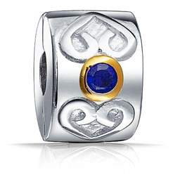 Celtic Bling Jewelry Heart Simulated Sapphire Clasp Cz Stopper Bead Charm .925 Sterling Silver.