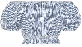 Caroline Constas Bardot gingham off-the-shoulder top