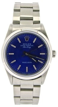 Rolex Air King 14000 Stainless Steel Oyster w/ Submariner Blue Dial 34mm Mens Watch