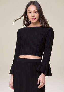 Bebe Flare Sleeve Crop Sweater
