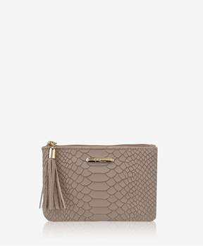 GiGi New York Zip Pouch In Stone Embossed Python