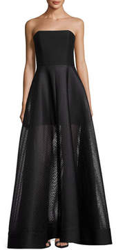 Halston Strapless Evening Gown w/ Sheer Striped Skirt