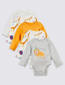 Marks and Spencer 5 Pack Pure Cotton Animal Party Bodysuits