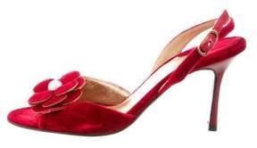 Chanel Velvet Camellia Sandals