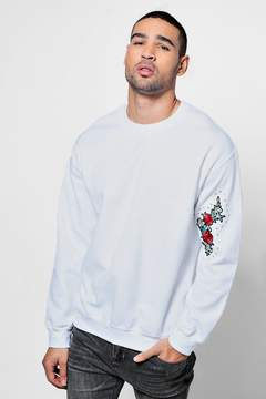 boohoo Crew Neck Sweat One Side Sleeve Floral Embroidery