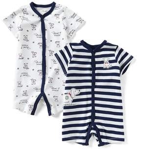 Little Me Baby Boys 3-12 Months Striped/Puppy-Print 2-Pack Shortall Set