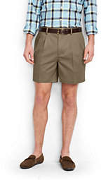 Lands' End Men's No Iron 6 Pleat Front Comfort Waist Chino Shorts-Steeple Gray