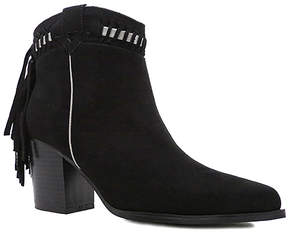 Qupid Black Fringe Tilt Bootie - Women
