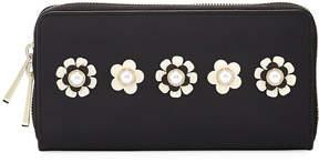 Zac Posen Earthette Checkbook Wallet w/Floral Appliques, Black