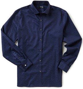 Murano Slim-Fit Spread Collar Jacquard Cloud Long-Sleeve Sportshirt