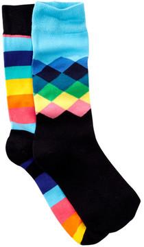 Happy Socks Diamonds & Stripes Crew Socks - Pack of 2
