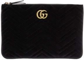 Gucci Black Velvet GG Marmont 2.0 Pouch