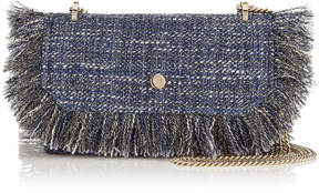 Jimmy Choo FINLEY Navy Frayed Metallic Tweed Cross Body Mini Bag