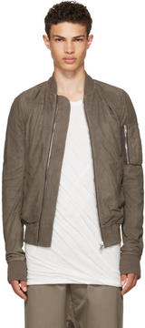 Rick Owens Grey Leather Raglan Bomber Jacket