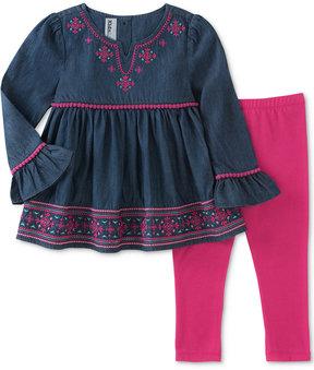 Kids Headquarters 2-Pc. Peplum Chambray Tunic & Leggings Set, Little Girls (4-6X)