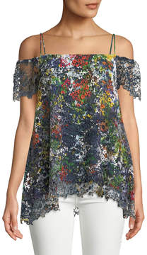 Alberto Makali Circle-Lace Cold-Shoulder Blouse, Navy