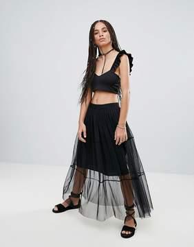 Noisy May Jade Sheer Layer Maxi Skirt