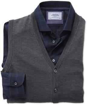 Charles Tyrwhitt Charcoal Merino Wool Vest Size Large