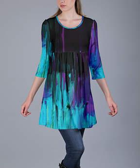Azalea Black & Blue Abstract Tunic - Women
