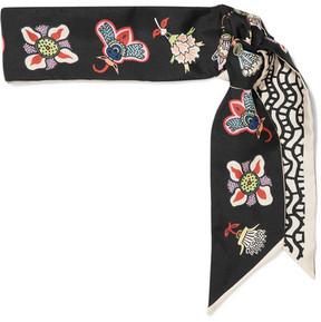 Valentino Floral-print Silk-twill Scarf - Black