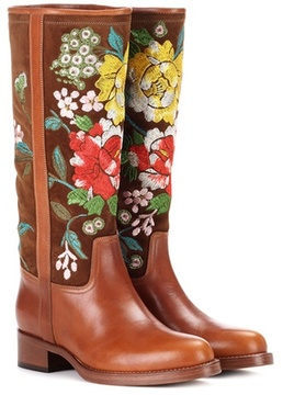 Etro Embroidered suede and leather boots